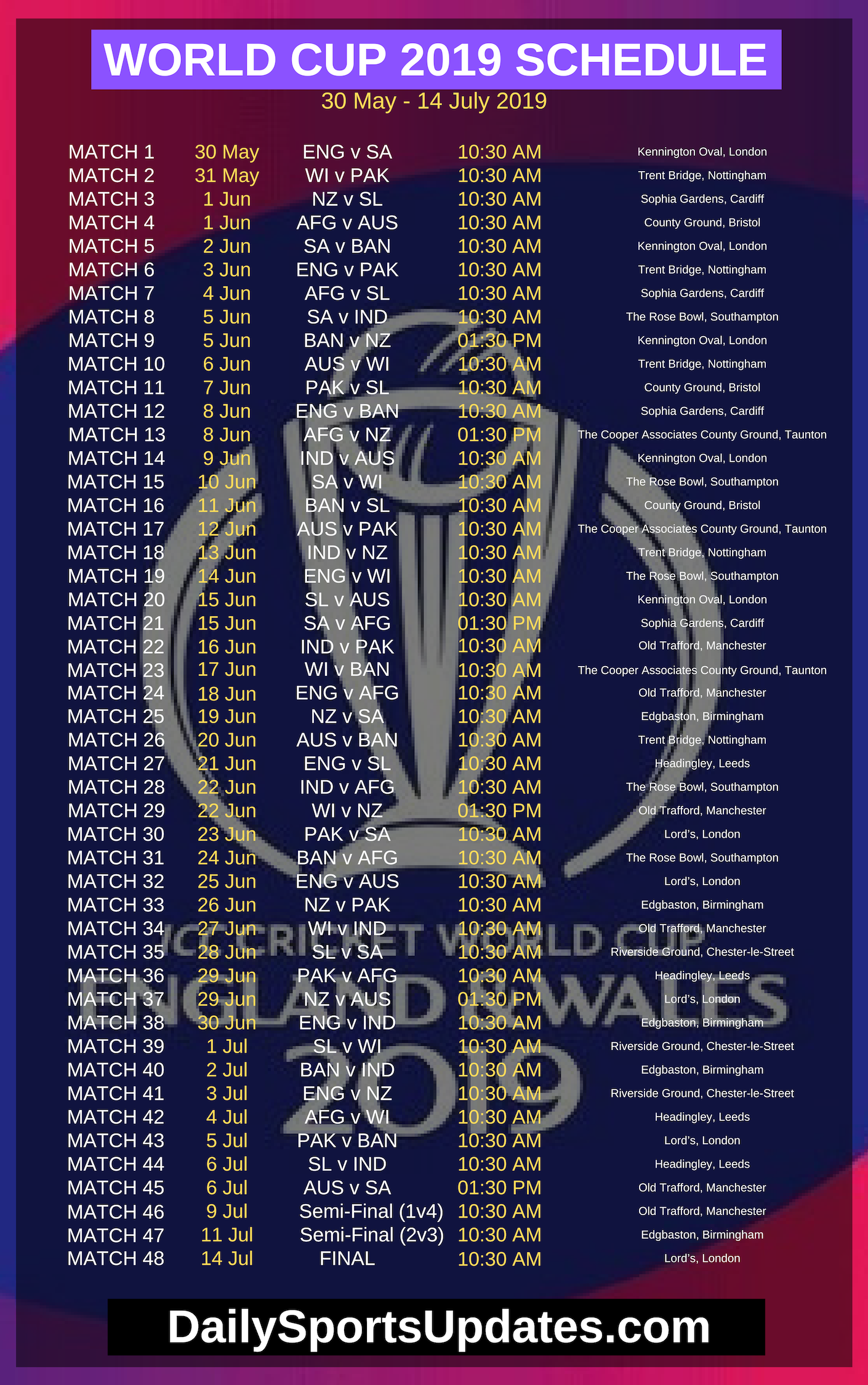 ICC Cricket World Cup 2019 Complete Schedule