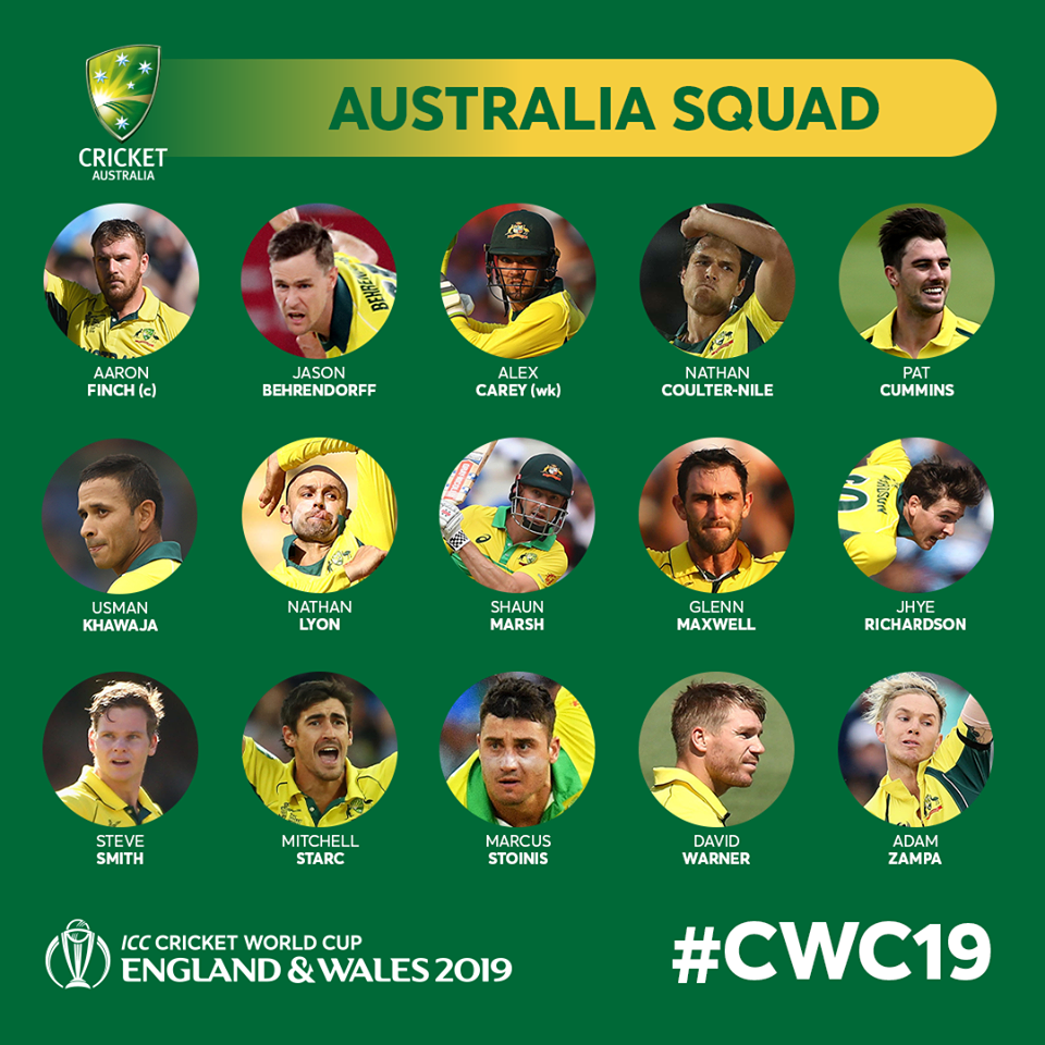 Australia Cricket Team Squad for ICC Cricket Worlc Cup 2019