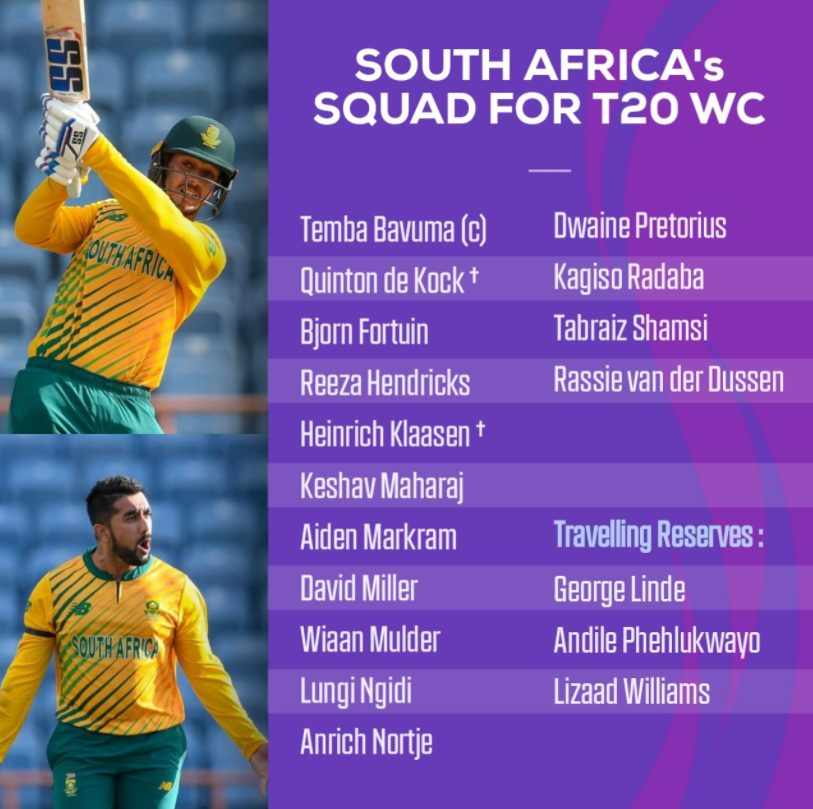 T20 World Cup 2021 South Africa Team Squad, Players List, Playing 11