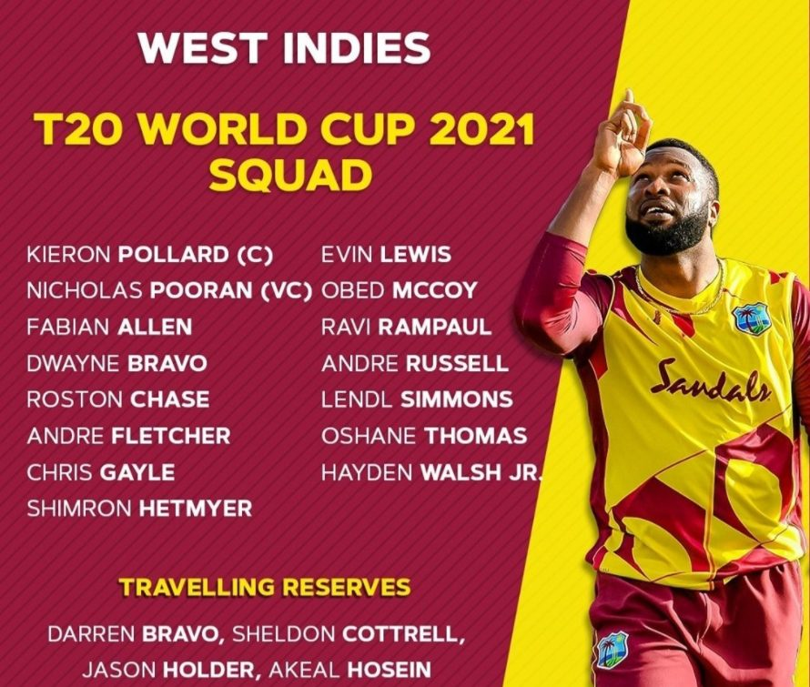 T20 World Cup 2021 West Indies Team Squad, Players List, Playing 11
