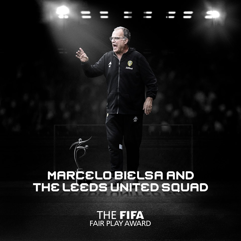 Marcelo Bielsa and the Leeds United squad - Winner of The FIFA Fair Play Award 2019